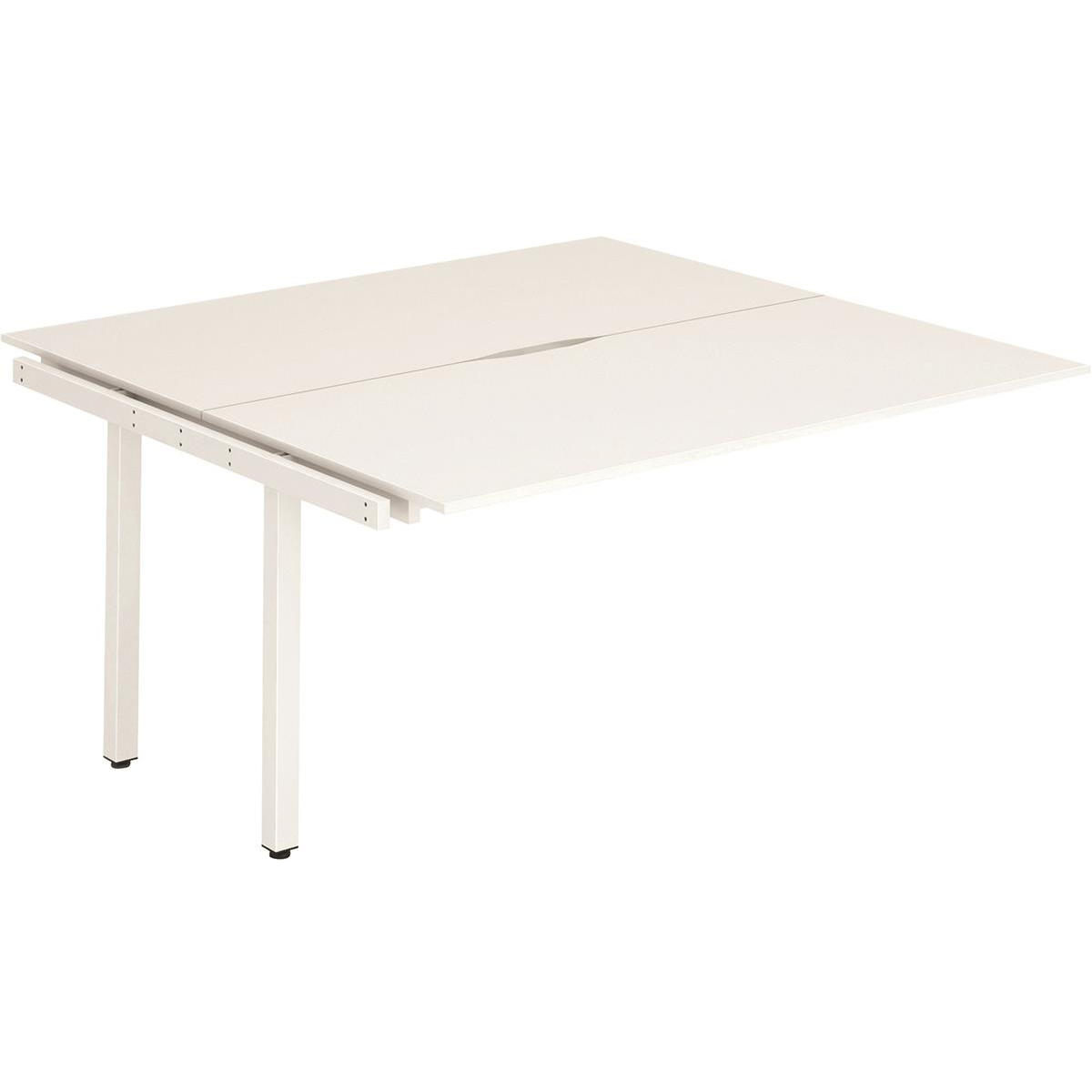 Trexus Bench Desk Double Extension Back to Back Configuration White Leg 1400x1600mm White Ref BE195