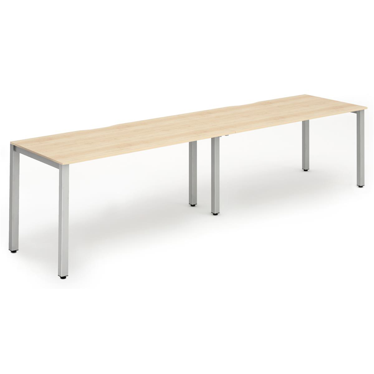 Trexus Bench Desk 2 Person Side to Side Configuration Silver Leg 2400x800mm Maple Ref BE376