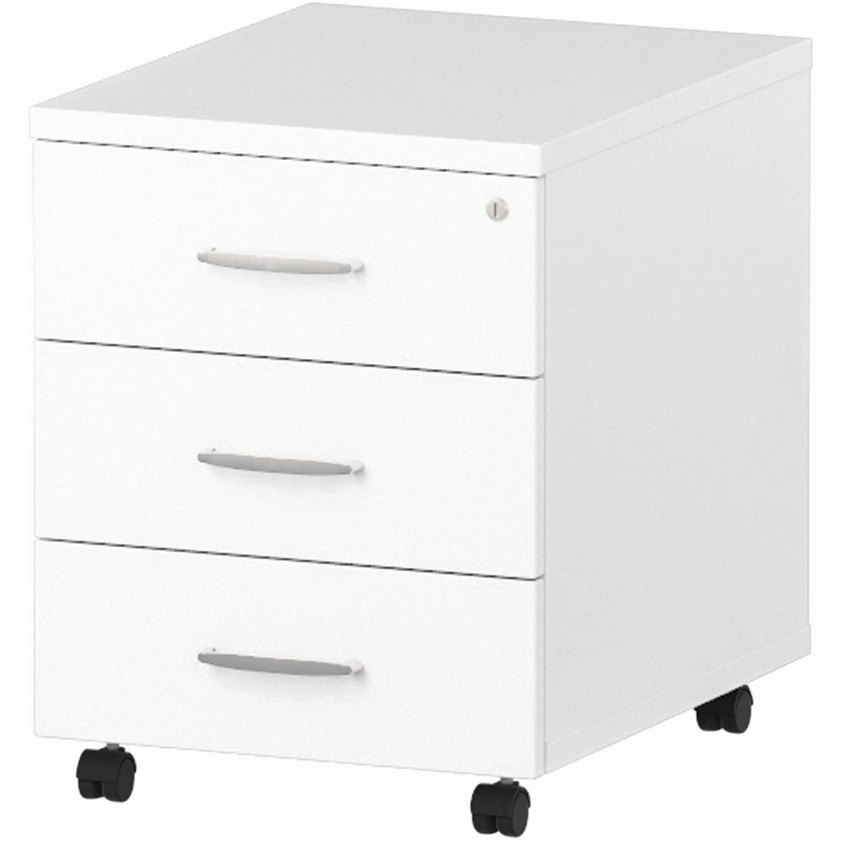 Trexus 3 Drawer Mobile Pedestal 430x500x510mm White Ref I000185