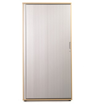 Sonix Tall Tambour Door Cupboard 1000x525x2000mm 1 Shelf Acer Maple/Silver Ref w9871m