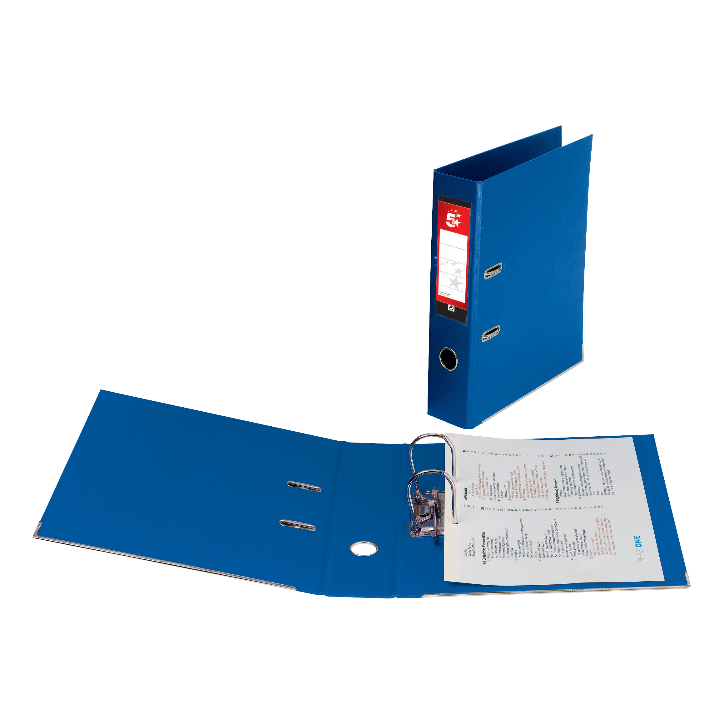 5 Star Office Lever Arch File Polypropylene Capacity 70mm A4 Blue Pack 10