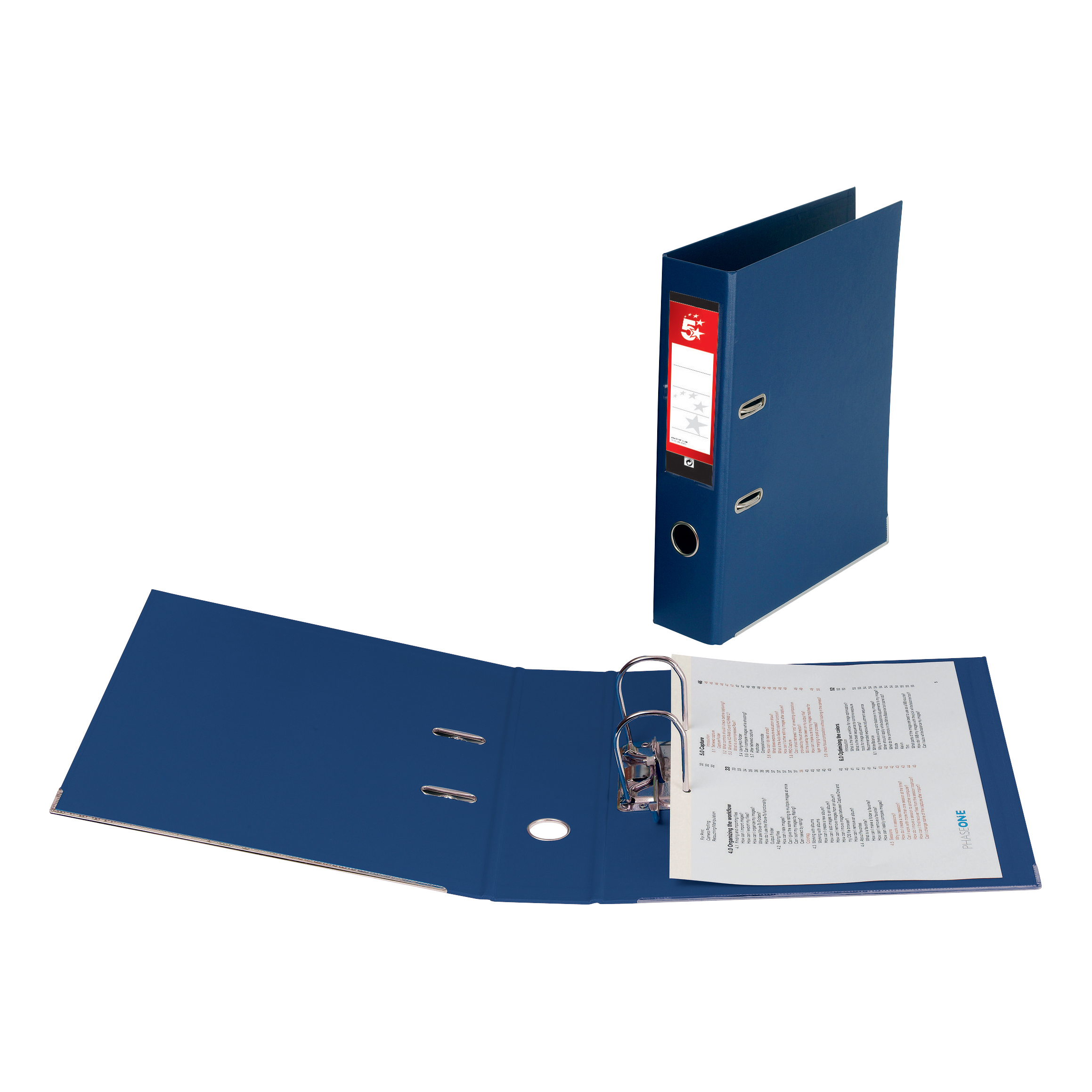5 Star Office Lever Arch File Polypropylene Foolscap Blue