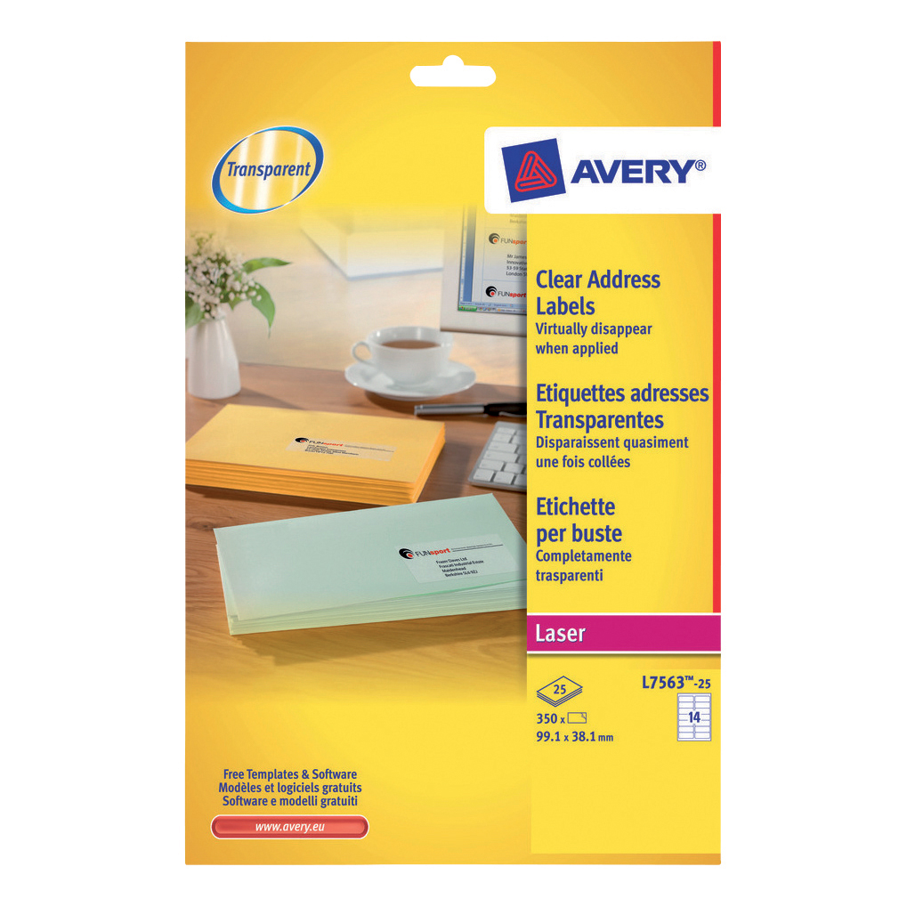 Address Avery Addressing Labels Laser 14 per Sheet 99.1x38.1mm Clear Ref L7563-25 350 Labels