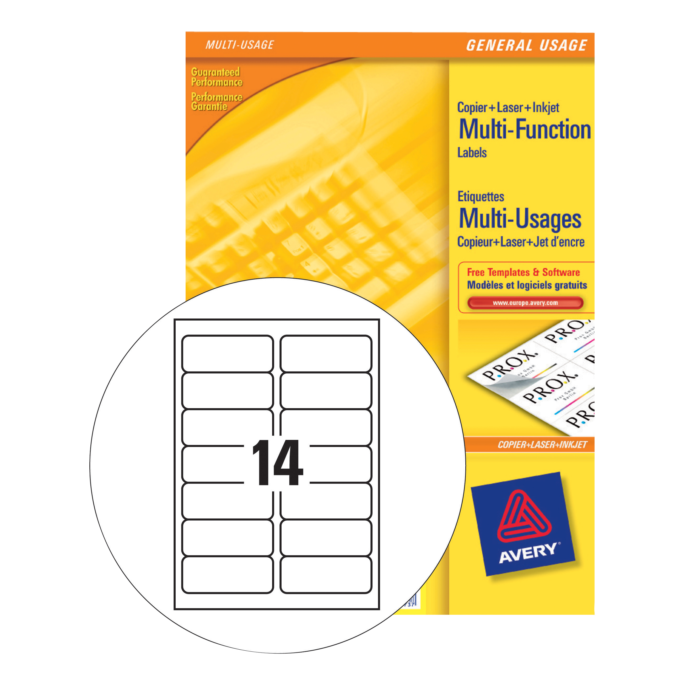Address Avery Multipurpose Labels Laser Copier Inkjet 14 per Sheet 105x42.3mm White Ref 3653 [1400 Labels]