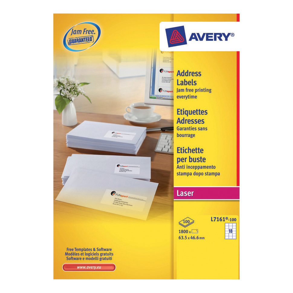Avery Addressing Labels Laser Jam-free 18 per Sheet 63.5x46.6mm White Ref L7161-100 [1800 Labels]