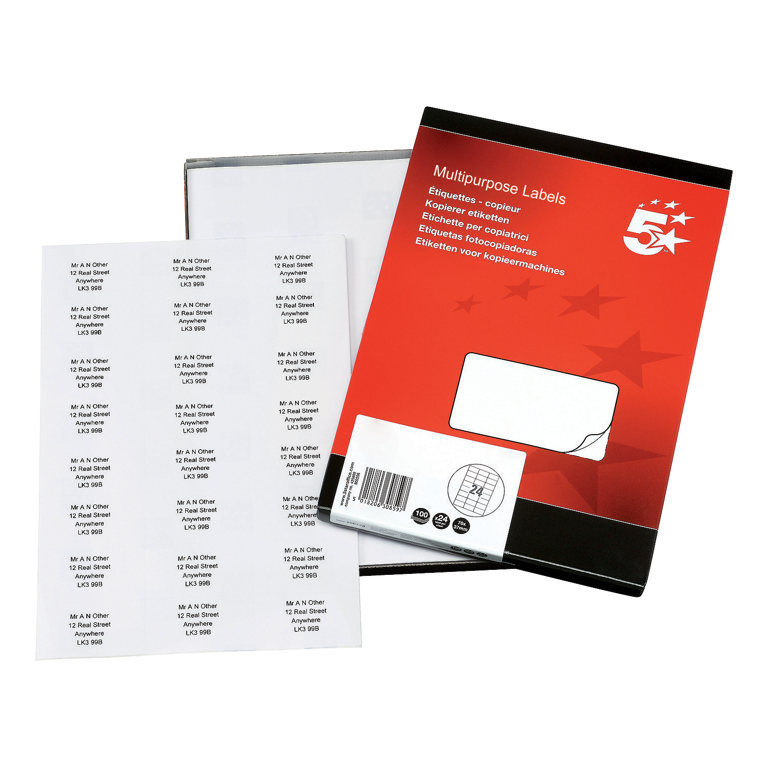 5 Star Office Multipurpose Labels Laser Copier Inkjet 24 per Sheet 70x37mm White 2400 Labels