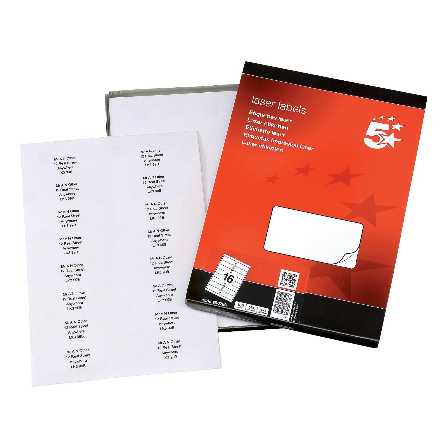 5 Star Office Multipurpose Labels Laser Copier Inkjet 16 per Sheet 99.1x34mm White [1600 Labels]
