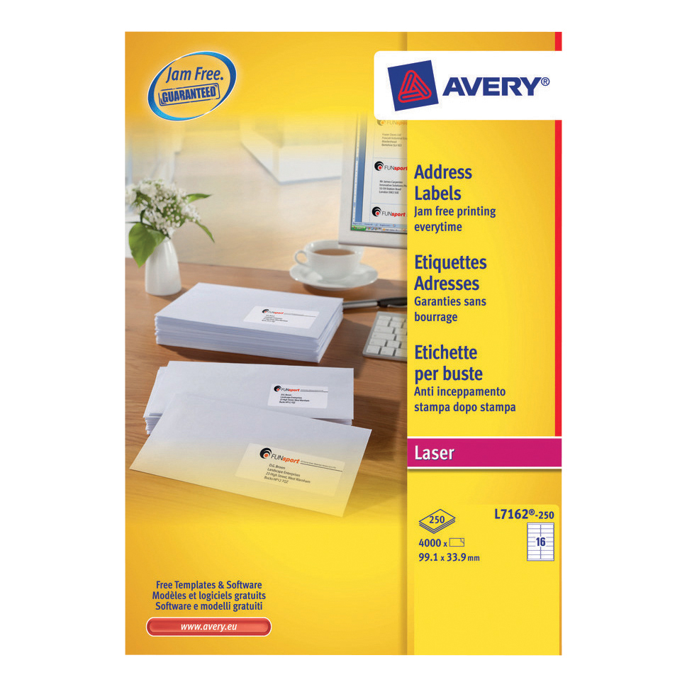 Avery Addressing Labels Laser Jam-free 16 per Sheet 99.1x33.9mm White Ref L7162-250 4000 Labels
