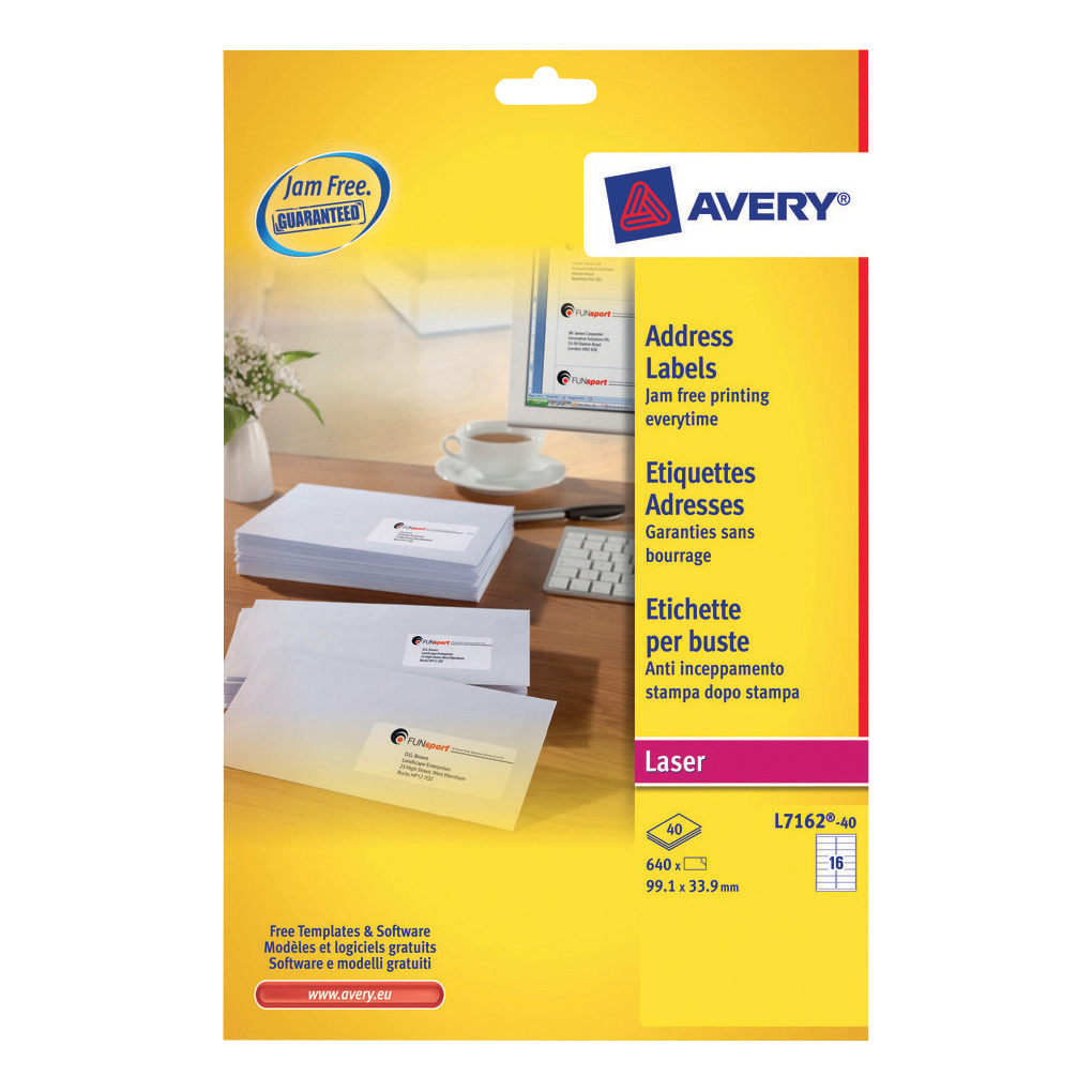 Avery Addressing Labels Laser Jam-free 16 per Sheet 99.1x33.9mm White Ref L7162-40 640 Labels