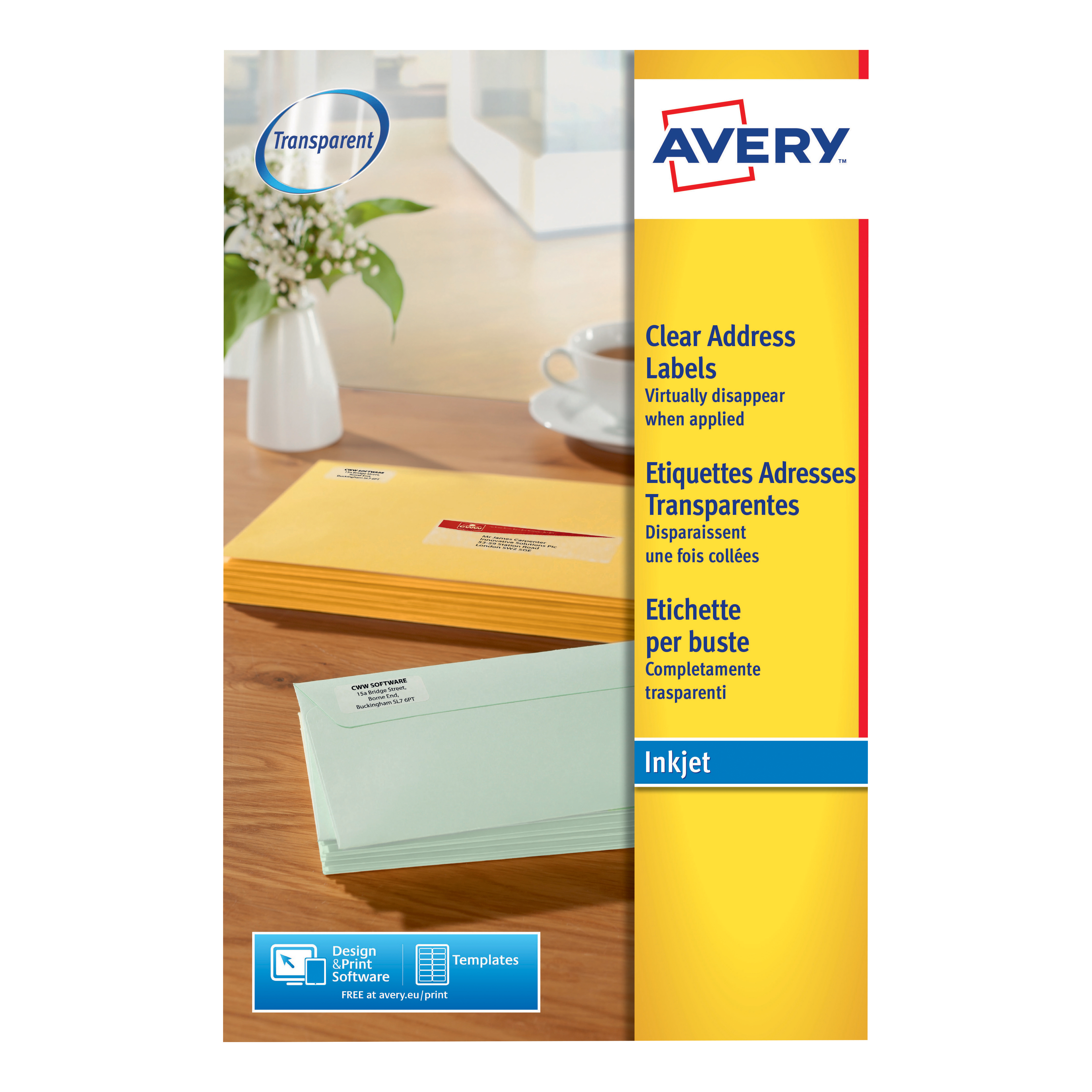 Avery Addressing Labels InkJet 14 per Sheet 99.1x38.1mm Clear Ref J8563-25 350 Labels