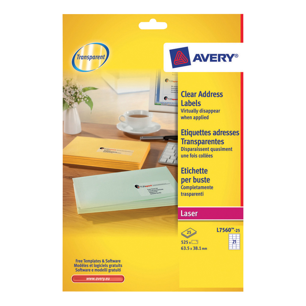 Avery Addressing Labels Laser 21 per Sheet 63.5x38.1mm Clear Ref L7560-25 525 Labels
