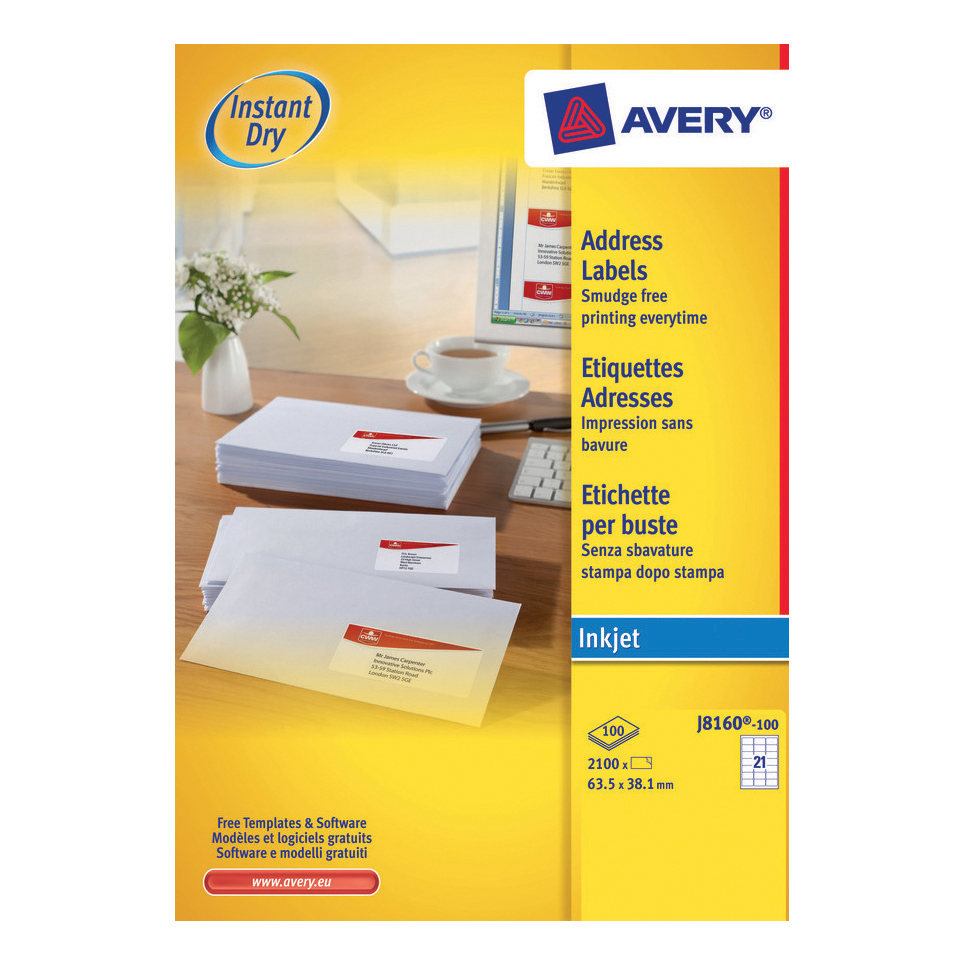 Avery Quick DRY Addressing Labels Inkjet 21 per Sheet 63.5x38.1mm White Ref J8160-100 2100 Labels