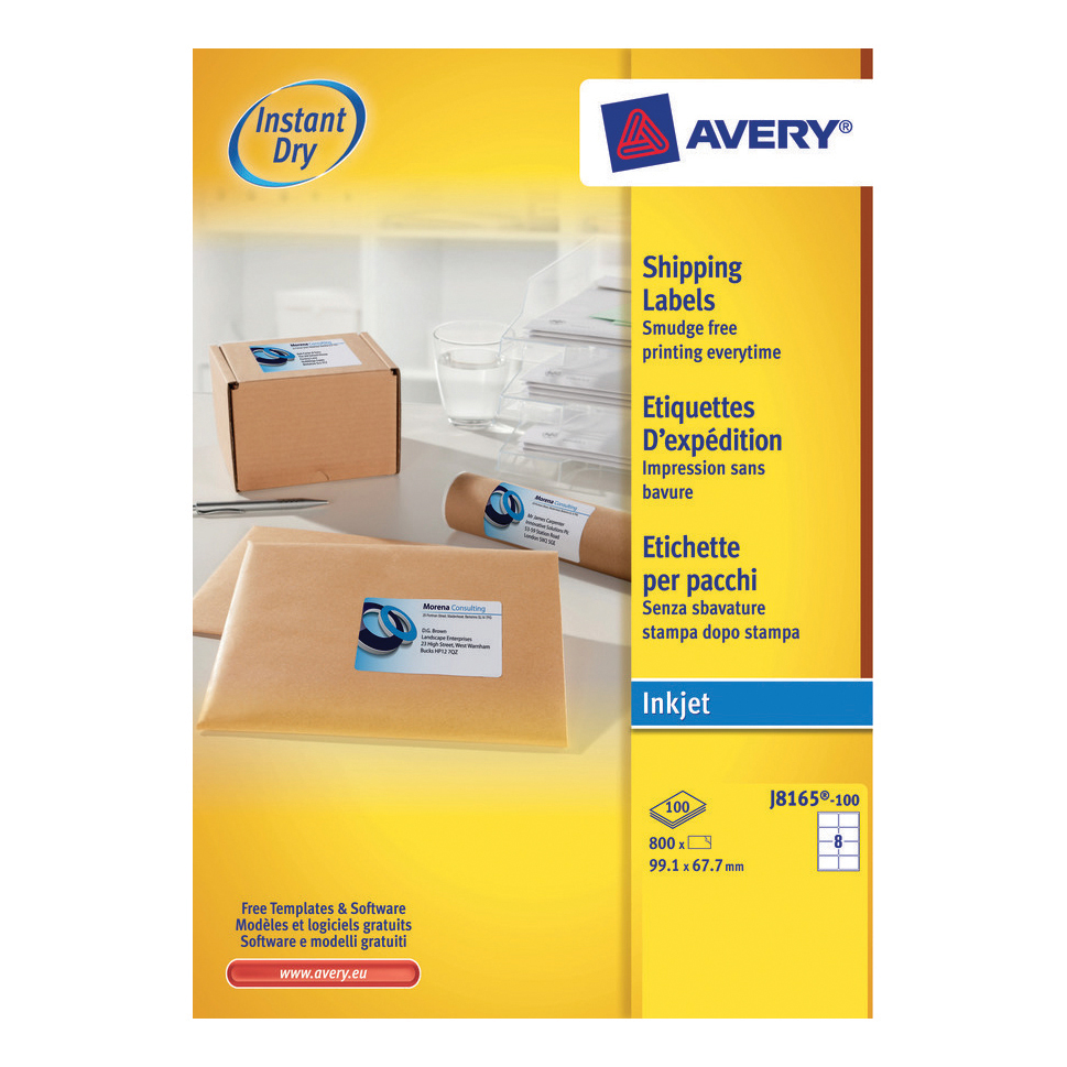 Avery Quick DRY Parcel Labels Inkjet 8 per Sheet 99.1x67.7mm White Ref J8165-100 [800 Labels]