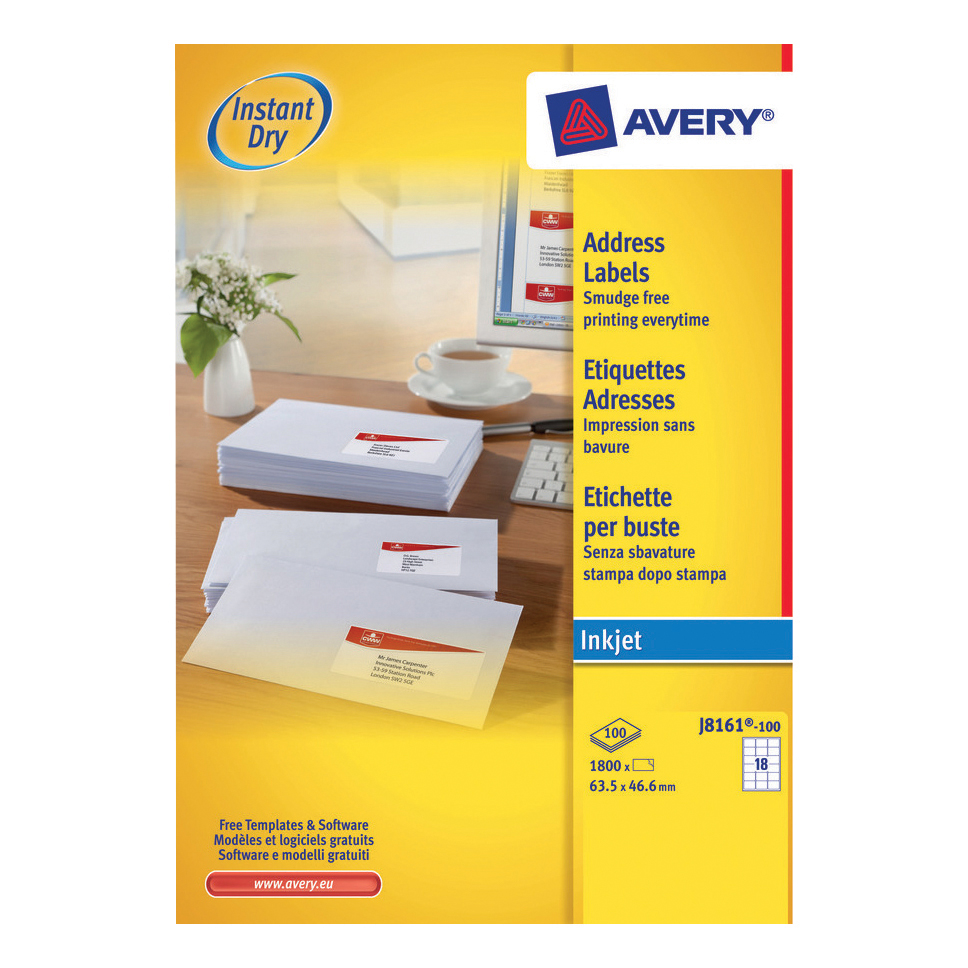 Avery Quick DRY Addressing Labels Inkjet 18 per Sheet 63.5x46.6mm White Ref J8161-100 1800 Labels