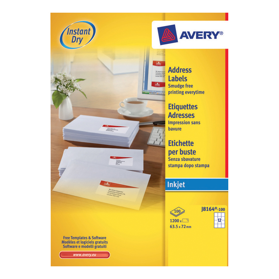 Avery Quick DRY Addressing Labels Inkjet 12 per Sheet 63.5x72mm White Ref J8164-100 1200 Labels
