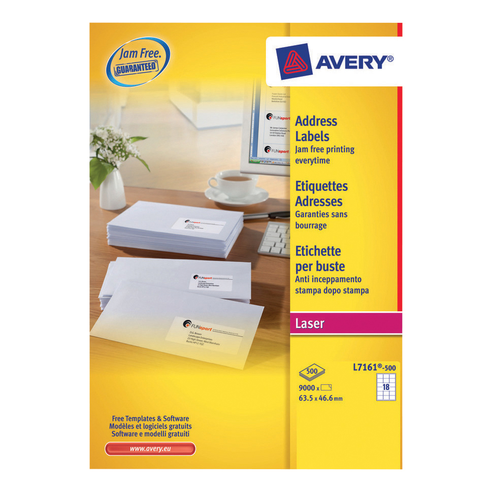 Avery Addressing Labels Laser Jam-free 18 per Sheet 63.5x46.6mm White Ref L7161-500 9000 Labels