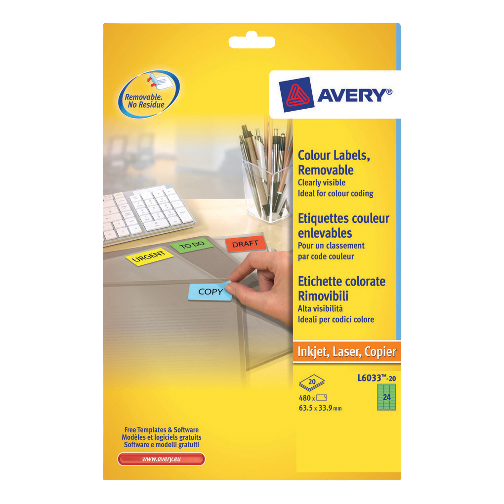 Avery Coloured Labels Laser 24 per Sheet 63.5x33.9mm Green Ref L6033-20 [480 Labels]