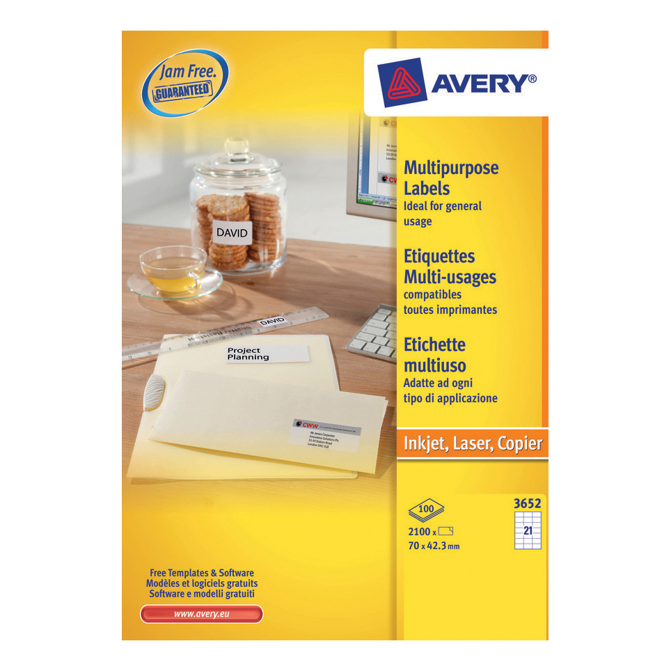 Address Avery Multipurpose Labels Laser Copier Inkjet 21 per Sheet 70x42.3mm White Ref 3652 [2100 Labels]