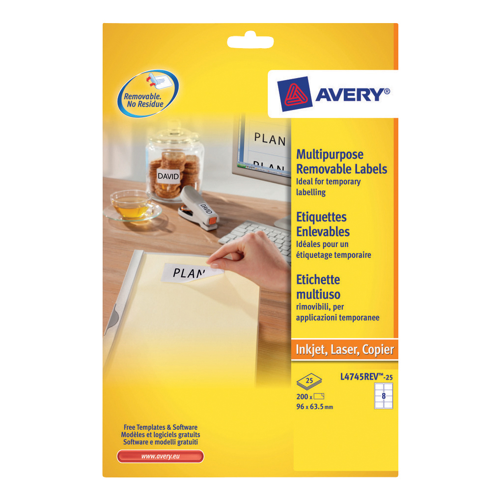 Avery Multipurpose Labels Removable Laser 8 per Sheet 96x63.5mm White Ref L4745REV-25 [200 Labels]