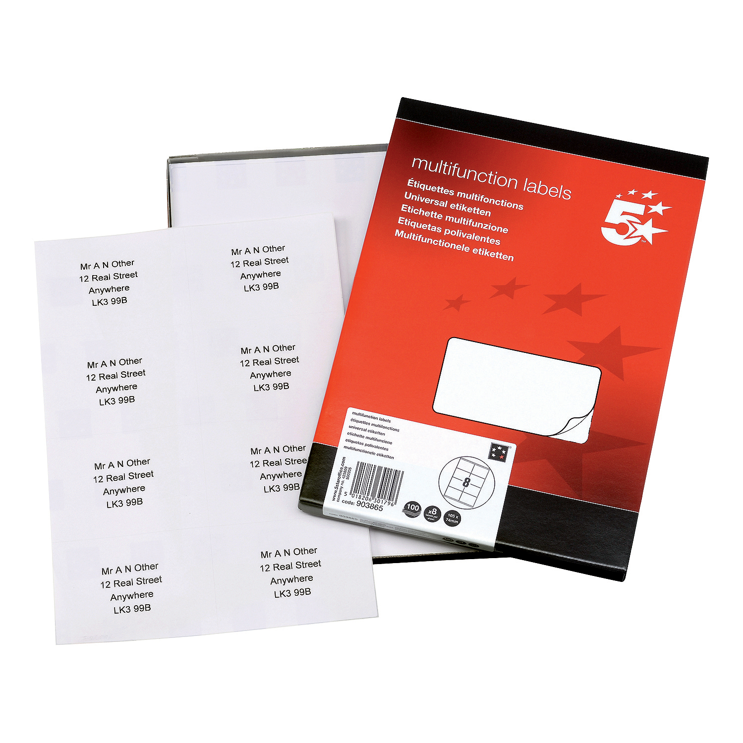 5 Star Office Multipurpose Labels Laser Copier Inkjet 8 per Sheet 105x71mm White [800 Labels]