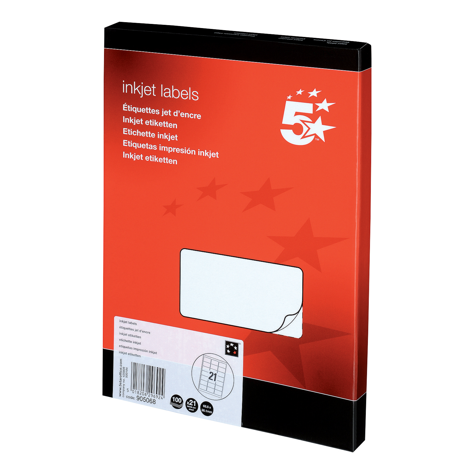 Address 5 Star Office Addressing Labels Inkjet 21 per Sheet 63.5x38.1mm White 2100 Labels