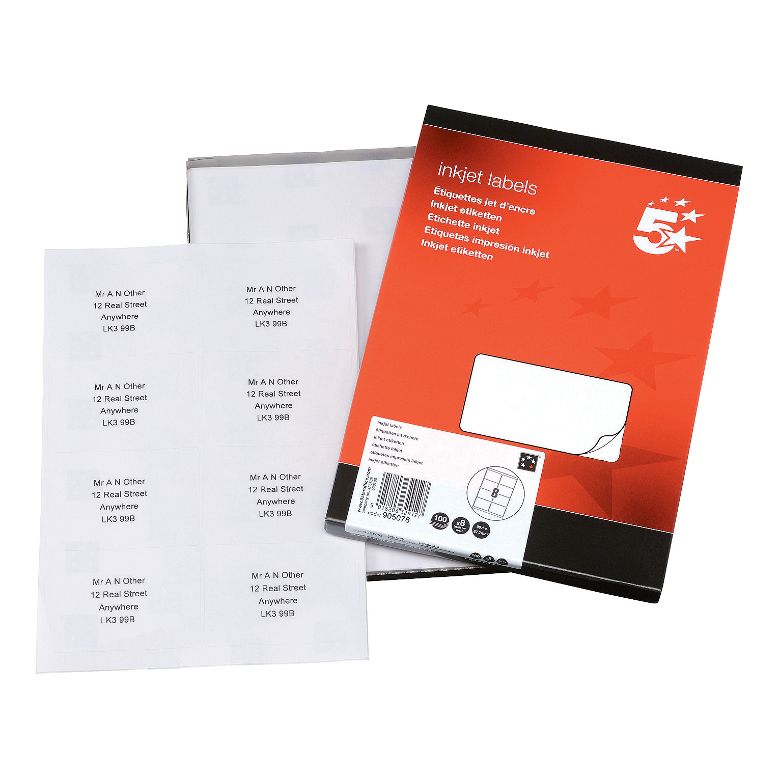 5 Star Office Addressing Labels Inkjet 8 per Sheet 99.1x67.7mm White 800 Labels