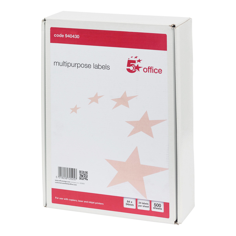 5 Star Office Multipurpose Labels Laser Copier Inkjet 24 per Sheet 64x34mm White [12000 Labels]