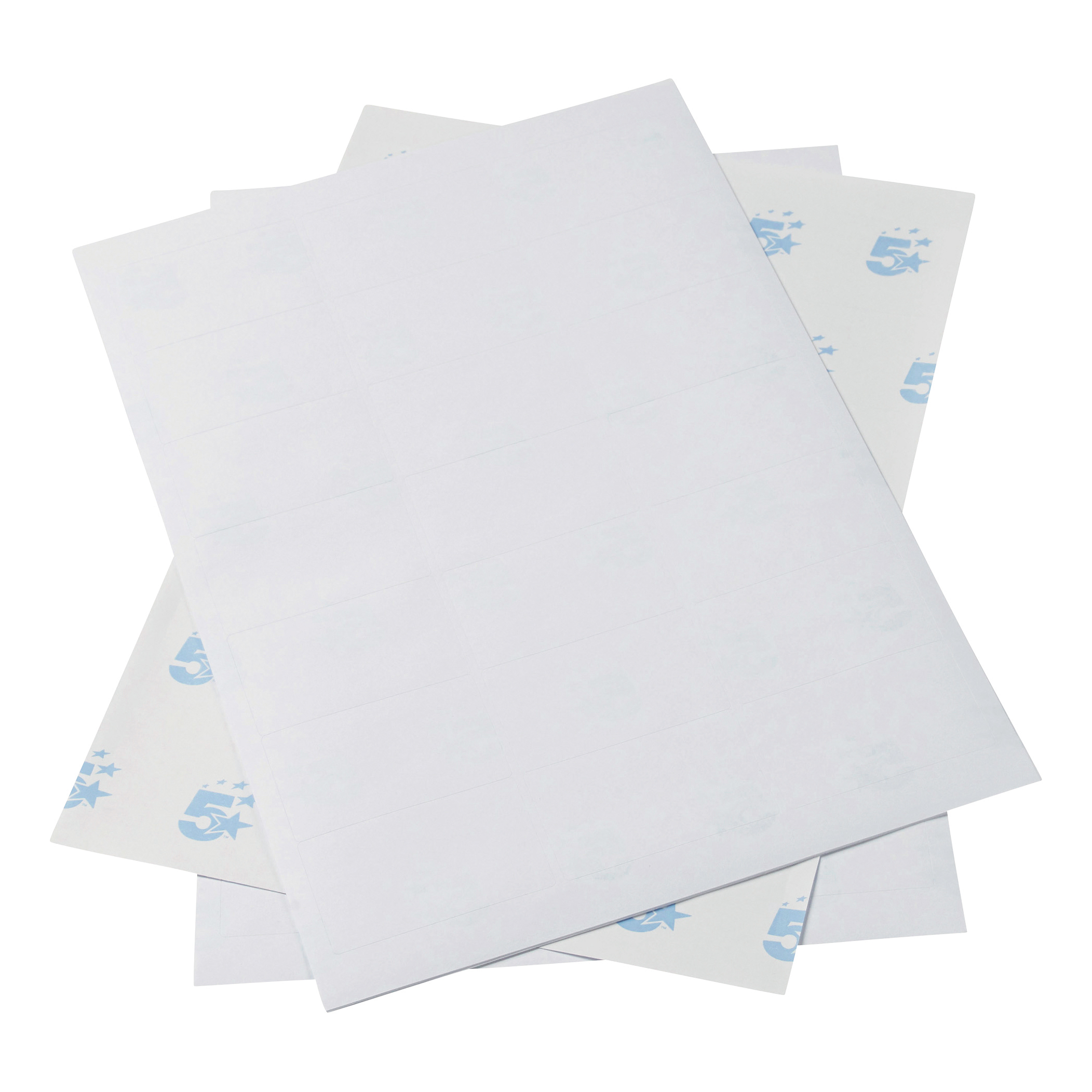 5 Star Office Multipurpose Labels Laser Copier Inkjet 21 per Sheet 64x38mm White 10500 Labels