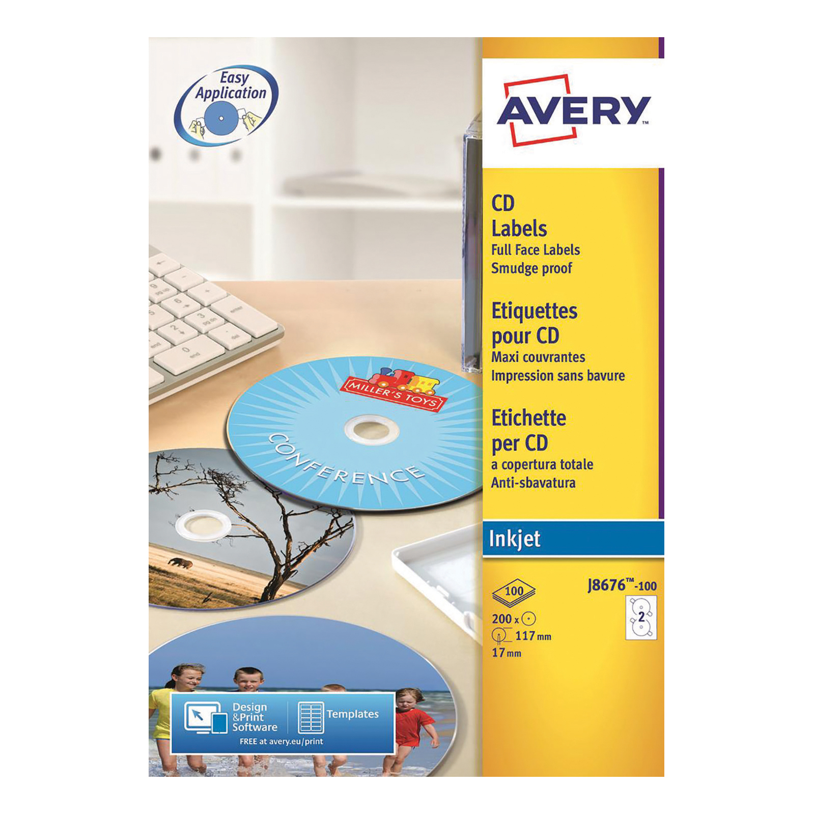 Avery CD/DVD Labels Inkjet 2 per Sheet Dia.117mm Easy Application White Ref J8676-100 200 Labels