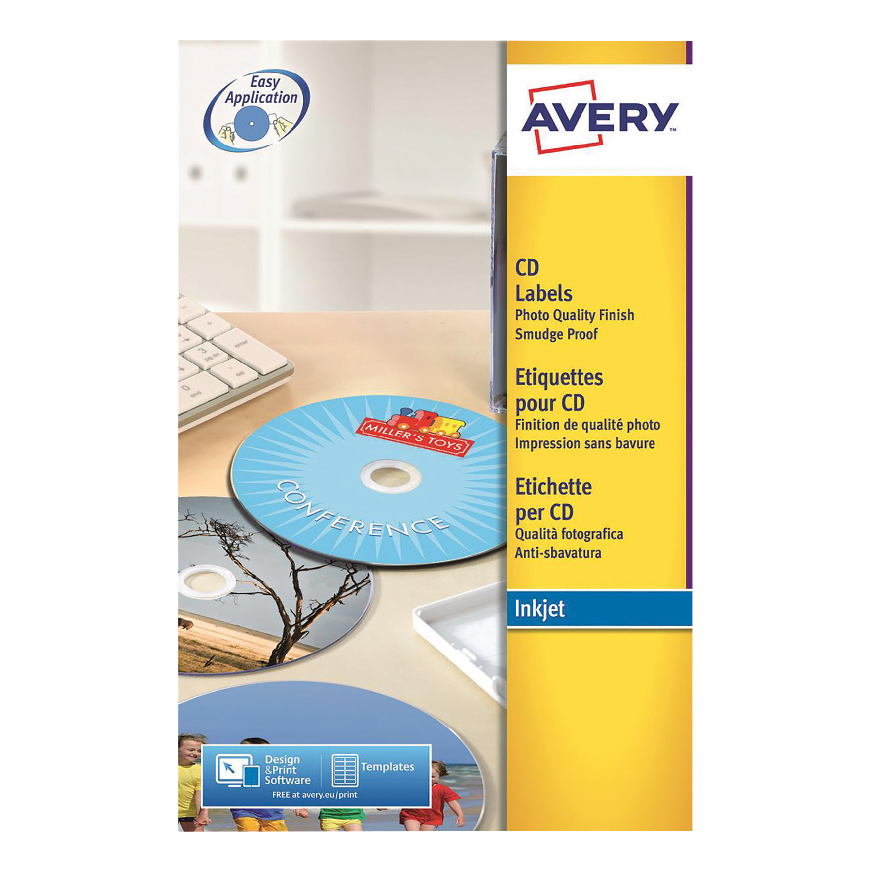 Avery CD/DVD Labels Inkjet 2 per Sheet Dia.117mm Photo Quality Glossy White Ref C9660-25 50 Labels