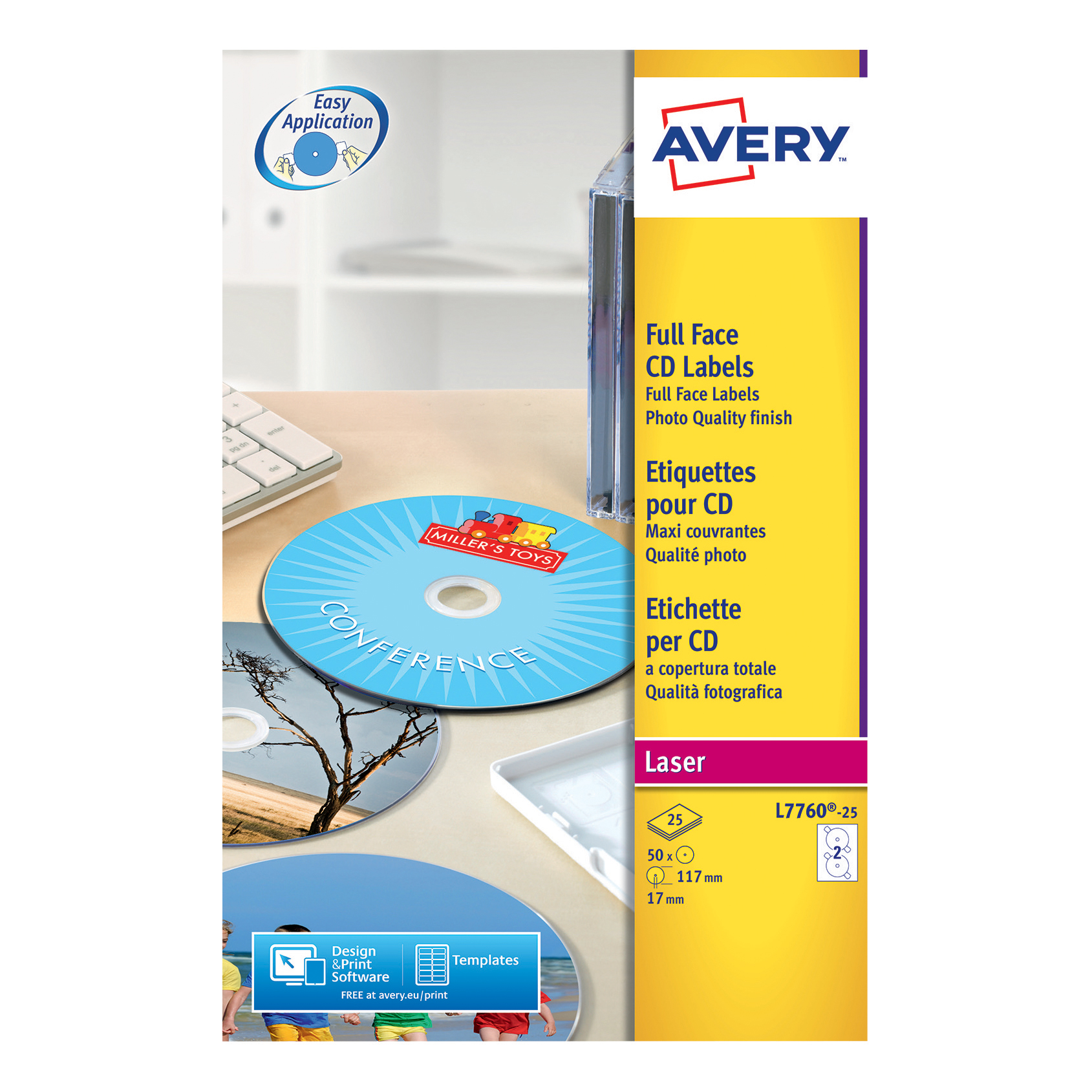 Avery CD/DVD Labels Laser 2 per Sheet Dia.117mm High Glossy White Ref L7760-25 [50 Labels]