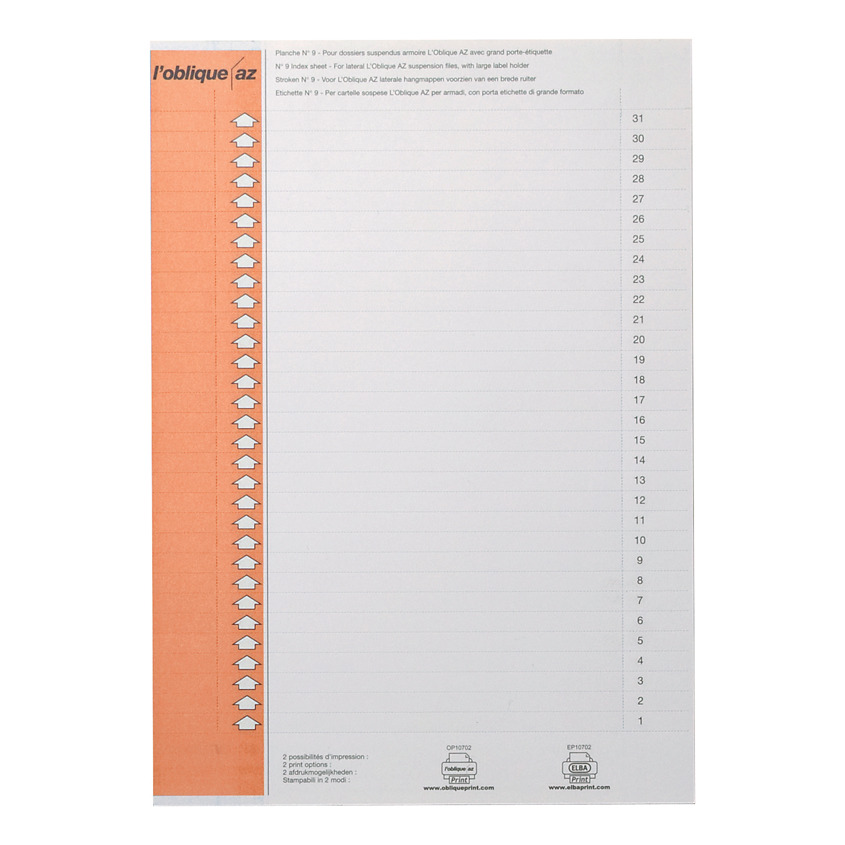 Inserts Elba Polypro Card Inserts for Lateral Susp File Tabs 10 Sheets of 31 Tabs White Ref 100330212 Pack 310