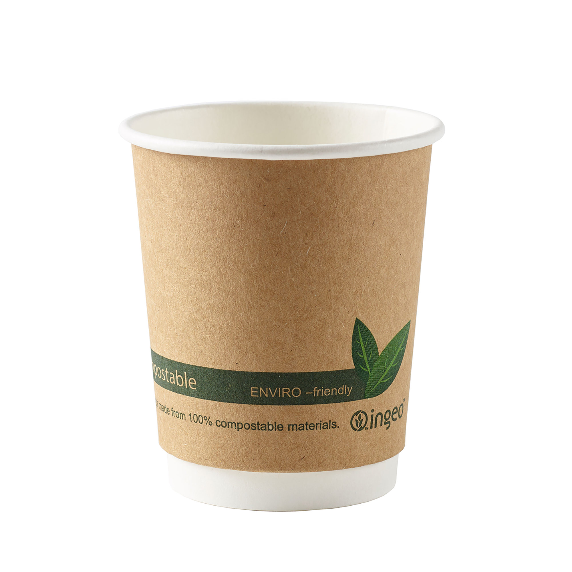 Domestic disposable cups or glasses or lids Ingeo Kraft Paper Cups 8oz Double Wall PLA Ref 44881 Pack 25