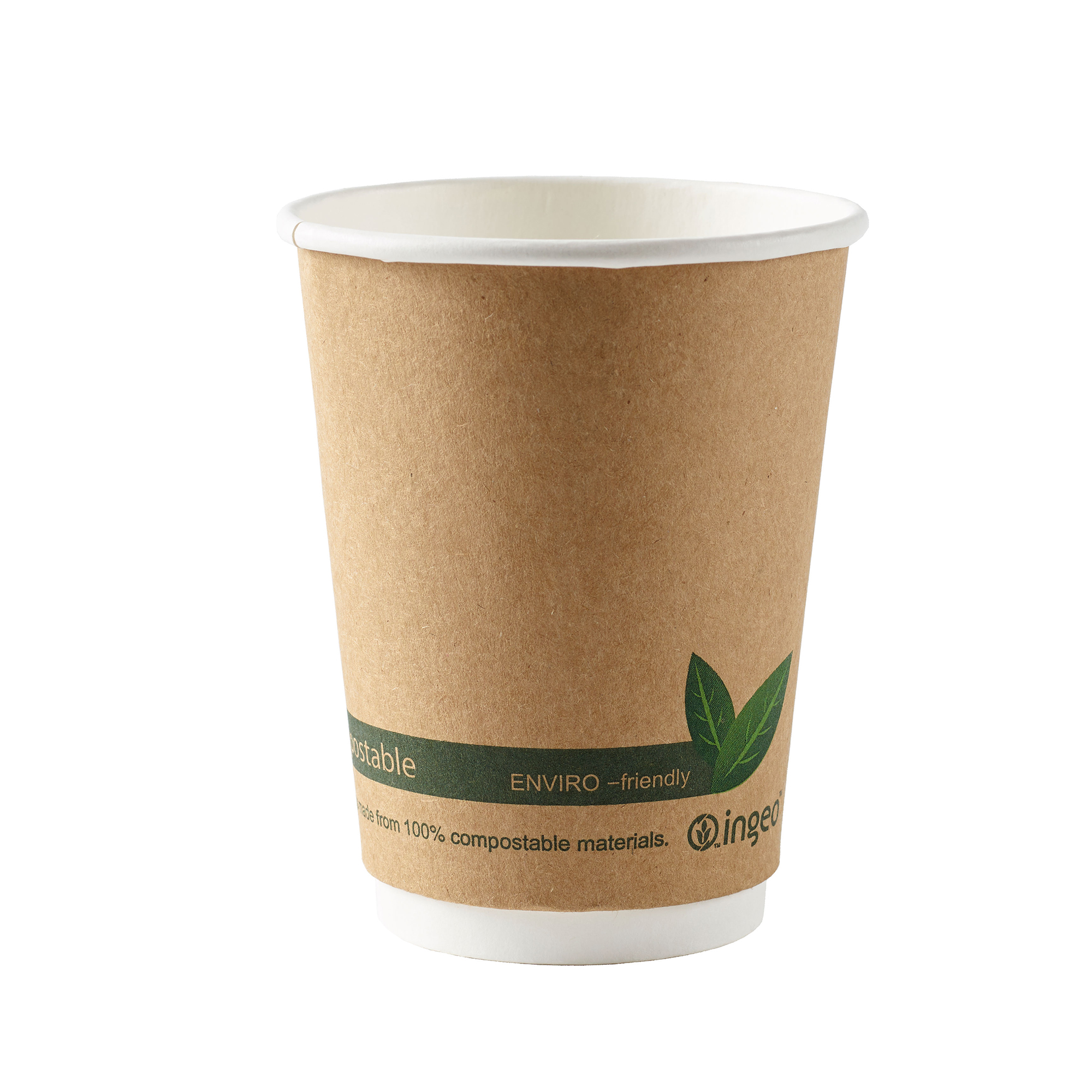 Domestic disposable cups or glasses or lids Ingeo Kraft Paper Cups 12oz Double Wall PLA Ref 44882 Pack 25