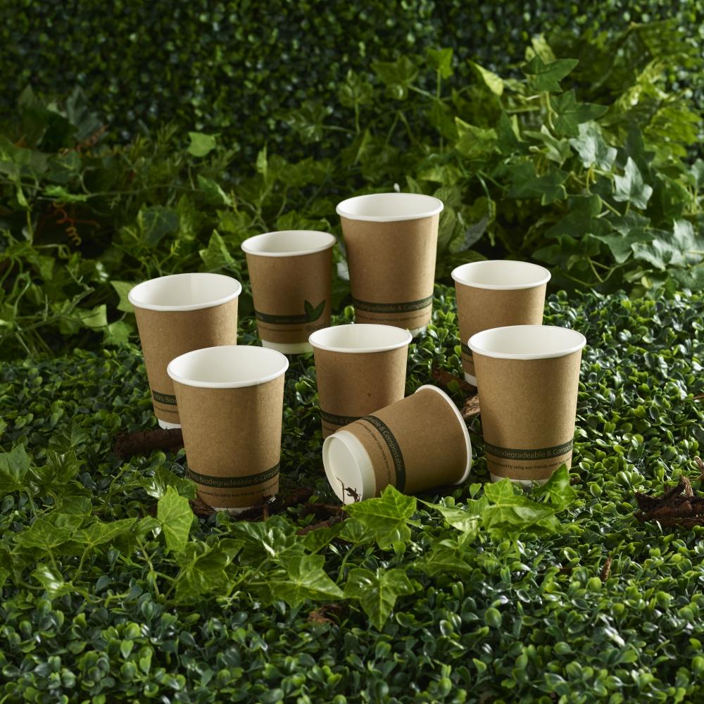 Ingeo Kraft Paper Cups 12oz Double Wall PLA Ref 44882 Pack 25