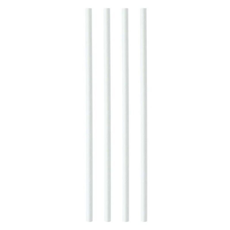 Disposable Cups & Accessories Paper Straws 8mmx200mm White Pack 250