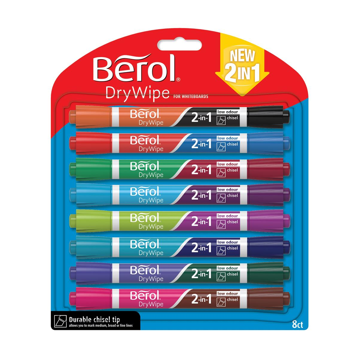 Image for Berol Dual Ended 2 in 1 Drywipe Whiteboard Marker Assorted Ref 1984584 [Pack 8]