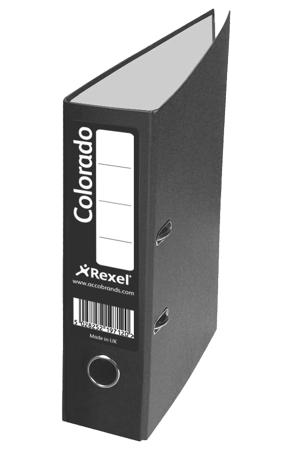 Rexel Colorado Lever Arch File Plastic 80mm Spine A4 Black Ref 28145EAST [Pack 10]