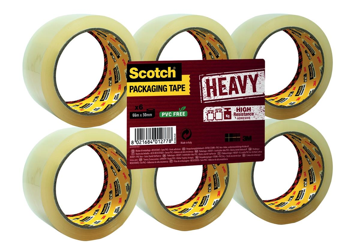 Image for Scotch Heavy Packaging Tape High Resistance Hotmelt 50mmx66m Clear [Pack 6] Ref UU005262835