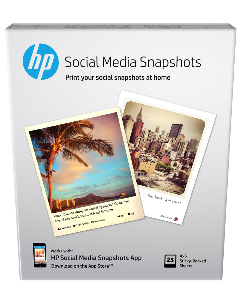 Image for HP Social Media Snapshots Removable Sticky Photo Paper 25sheets/10x13cm W2G60A 3 to 5 Day Leadtime