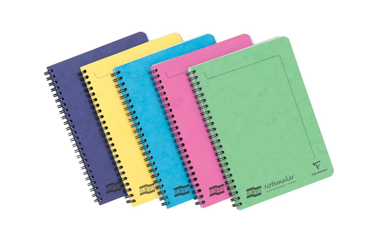 Image for Europa Notebook Twinwire Sidebound Ruled 90gsm 120pp Micro-perforated A5 Assorted Ref 3155Z [Pack 10]