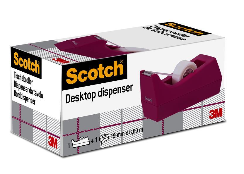 Scotch Weighted Tape Dispenser C38 Hibiscus Plus 1 x Scotch Magic Tape 19mmx8.89m Ref C38-H-EU