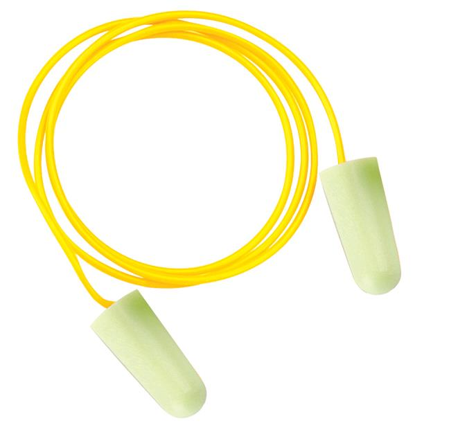 JSP SoundStop Ear Plugs Corded PU Foam Yellow Ref AEE090-060-2G1 [100 Pairs]