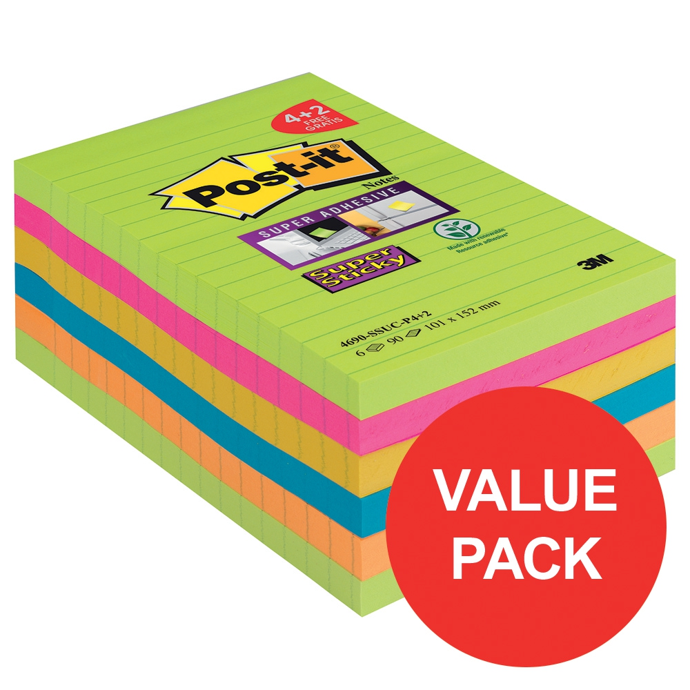Image for Post-it Super Sticky XXL 101x152 90 Sheets Rainbow Ref 4690-SSUC-P4 [Pack 4 + 2 Free]