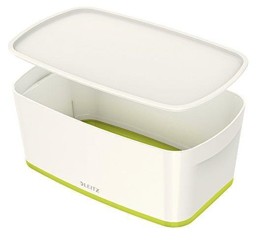 Image for Leitz MyBox Storage Box Small with Lid Plastic W318xD19xH128mm White/Green Ref 52294064