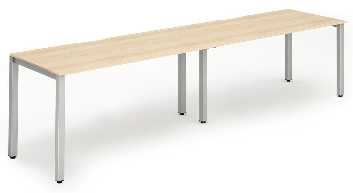 Image for Trexus Side to Side Bench Desk 2 Person Lockable Sliding Top Silver Leg Frame 1200mm Maple