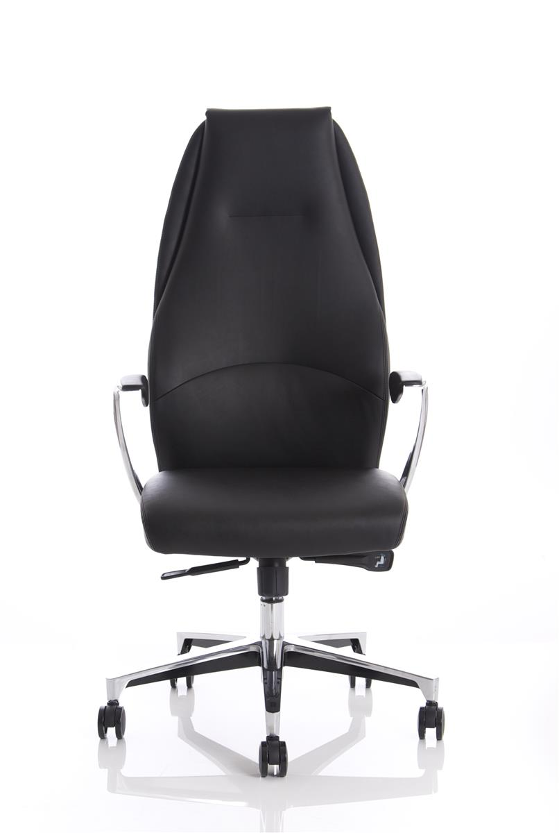 Image for Adroit Executive Chair Static Arms Flat Packed Bonded Leather Black
