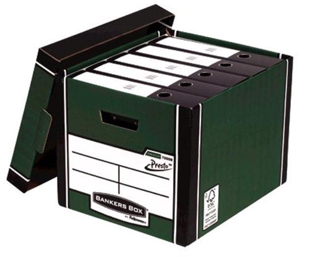 Image for Bankers Box Premium Storage Box Tall FSC Green and White Ref 7260803 [Pack 12] [12 for the price of 10]
