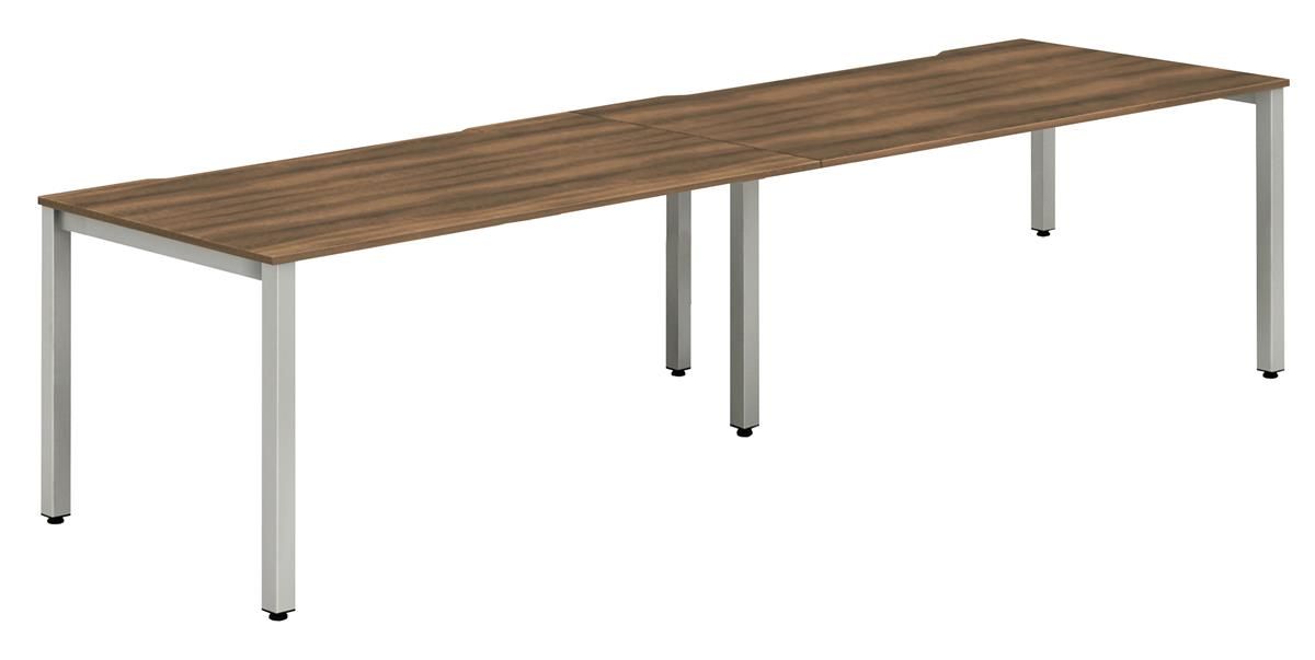 Image for Trexus Side to Side Bench Desk 2 Person Lockable Sliding Top Silver Leg Frame 1200mm Walnut
