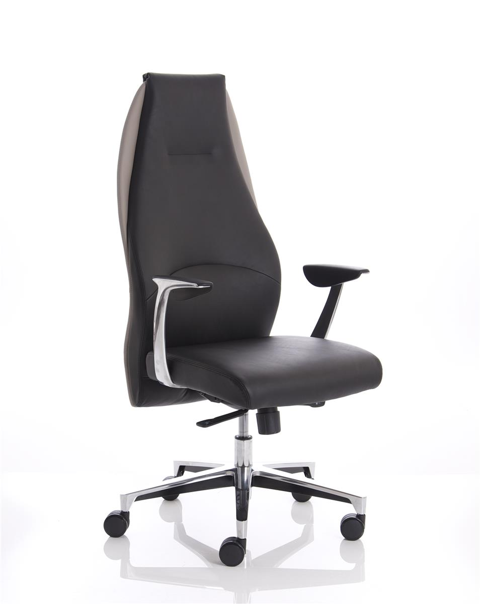 Image for Adroit Executive Chair Static Arms Flat Packed Bonded Leather Black/Mink